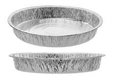 Moules ronds pour l'aluminium de cuisson d'isolement sur le fond blanc Photos stock