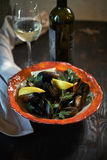 Moules sur la glace prête à cuisiner avec le jpg de citron et de vin blanc Images libres de droits