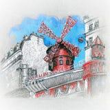 Moulin胭脂在巴黎,法国 皇族释放例证