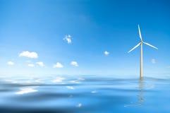 Moulin à vent dans l'eau images stock