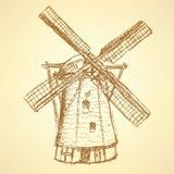Moulin à vent de Holand de croquis, fond de vintage de vecteur Photographie stock libre de droits