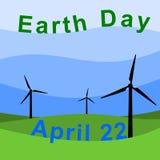 Moulin à vent de jour de terre - illustration Photo stock