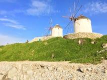 Moulin à vent de Mikonos, Grèce images libres de droits