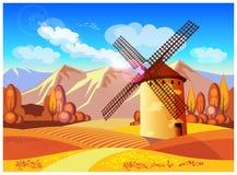 Moulin à vent en automne Photos stock