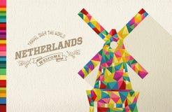 Moulin à vent polygonal de point de repère néerlandais de voyage Photographie stock