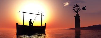 moulin à vent traditionnel et bateau traditionnel illustration de vecteur