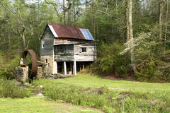 Moulin de blé à moudre dans le bord de la forêt Image stock