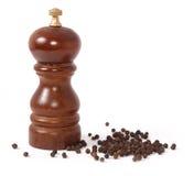 Moulin de poivre et grain de poivre noir Images stock