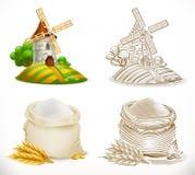 Moulin et farine Illustration de vecteur illustration stock