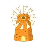 Moulin grec coloré par bande dessinée mignonne Photo libre de droits