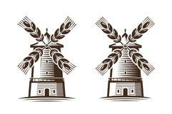 Moulin, icône de moulin à vent Agriculture, agro-industrie, logo de boulangerie ou label Image stock