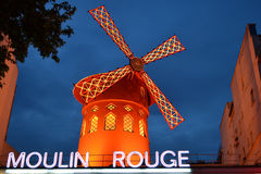 Moulin rouge. Night scene of moulin rouge in paris, france royalty free stock photography