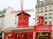 Moulin rouge, buildings and architecture typical of paris royalty free stock photo