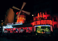 Moulin Rouge cabaret. 120 years Anniversary of the Moulin Rouge cabaret royalty free stock image