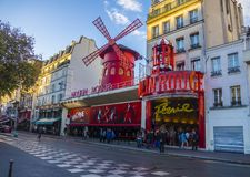 The Moulin Rouge cabaret building in Paris, France, Europe Royalty Free Stock Images