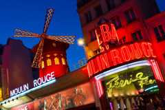 Moulin Rouge. The Moulin Rouge Cabaret club in Paris, France royalty free stock image