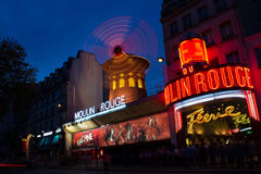 Moulin Rouge cabaret at night Royalty Free Stock Image