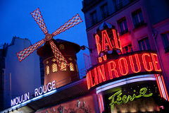Moulin Rouge cabaret in Paris. Moulin Rouge cabaret by night, Paris stock images