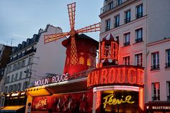 Moulin Rouge is the famous cabaret in Paris. PARIS, FRANCE -APRIL 7, 2018: Moulin Rouge is the famous cabaret in the city stock photography