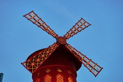 Moulin Rouge is the famous cabaret in Paris. PARIS, FRANCE -APRIL 7, 2018: Moulin Rouge is the famous cabaret in the city royalty free stock photography