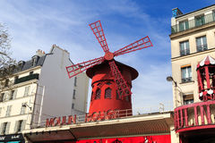 Moulin Rouge. The famous Mouline Rouge (red windmill) burlesque night club in Paris, France Stock Images