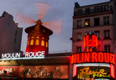 Moulin rouge. Famous Moulin Rouge in Paris at night stock photos