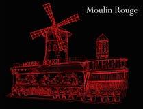 Moulin rouge i röda färger på svart bakgrund Arkivfoton