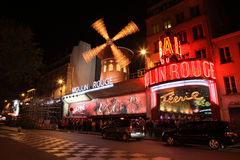 The Moulin Rouge at night, on May 3, 2013 in Pari Royalty Free Stock Photos