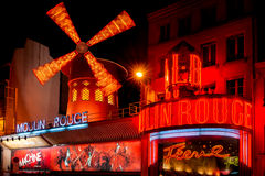 The Moulin Rouge by night, Paris. Royalty Free Stock Image