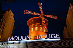 The Moulin Rouge by night, Paris, France Stock Photography