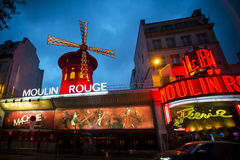 The Moulin Rouge by night Royalty Free Stock Photos