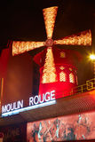 Moulin Rouge by night in Paris Royalty Free Stock Photos