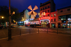 Moulin Rouge night view Stock Images
