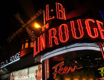 Moulin Rouge, Paris. The Moulin Rouge at midnight Stock Photo