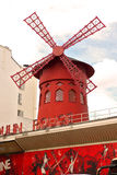 Moulin rouge paris exterior france, red windmill Stock Images