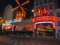 Moulin Rouge. In Paris at night , France royalty free stock photo