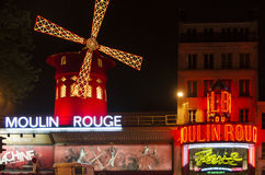 Moulin Rouge - Paris. Paris, The Moulin Rouge by night in Paris, France. Moulin Rouge is a famous cabaret built in 1889, locating in the Paris red-light district royalty free stock photo