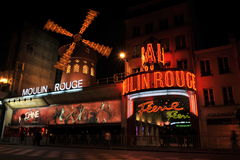 Moulin Rouge, Paris. Night view of the famous Moulin Rouge in Montmartre, Paris, France. Photo taken at the 12-Nov-2013 stock images