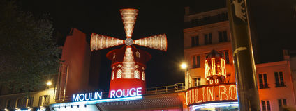 The Moulin Rouge windmill,is a famous cabaret built in 1889 Stock Images