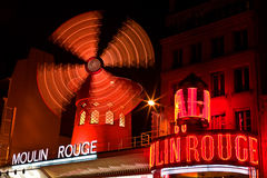 Moulin Rouge Windmill at Night Royalty Free Stock Photography