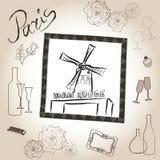 Moulin szminki ilustraci set. Miłości Paris ramy rocznika kolekcja. Francuska kawiarnia Zdjęcia Royalty Free