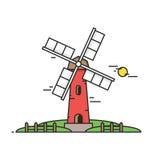 Moulin venteux sur un fond des champs et des prés verts Bâtiment d'agriculteur Jour ensoleillé Illustration dans le style linéair illustration de vecteur