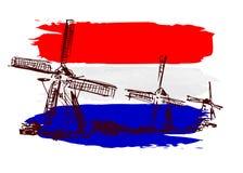 Moulins à vent avec le drapeau néerlandais Image stock