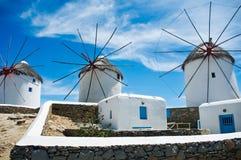 Moulins à vent célèbres de Mykonos Photos stock