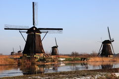 Moulins à vent chez Kinderdijk en Hollande 2 Images libres de droits
