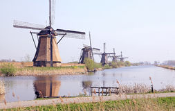 Moulins à vent chez Kinderdijk, Pays-Bas Photo libre de droits