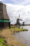 Moulins à vent chez Zaanse Schans Images libres de droits
