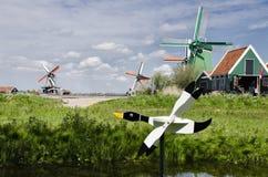 Moulins à vent chez Zaanse Schans, Amsterdam, Hollande Photos stock