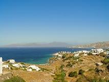 Moulins à vent décoratifs dans Chora, Mykonos avec le Grec traditionnel AR Images stock