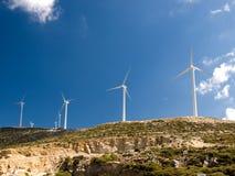 Moulins à vent dans Naxos Photos stock